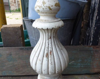 Vintage wood Lamp base Architectural salvage white chippy finial lighting supplies lamp parts restoration