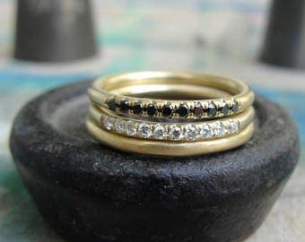 Diamond Stacking Rings , Gold Stacking Ring , Diamond Eternity Band , Pave Diamond Band , Half Eternity Band , Pave Diamond Wedding Ring