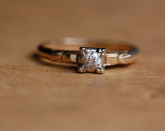 Vintage 14K Old European Cut diamond solitaire engagement ring
