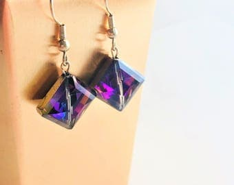 Silver plated earrings with beautiful purple glass gem drops