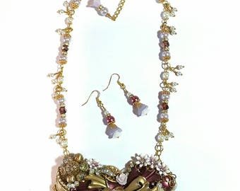 Jewelry Collage Necklace, Plum Purple, lilac and Gold, cameo, Matching Earrings