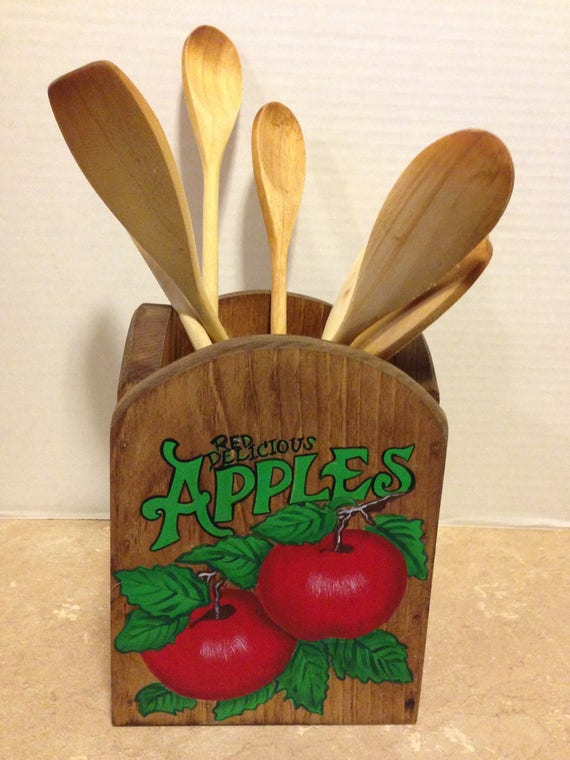 Kitchen Utensil Holder, Holder for utensils, Apple Kitchen, Apple Decor, Red Apple Decor, Wooden Holder, Country Decor, Farmhouse Decor