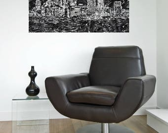 Pittsburgh art, Pittsburgh skyline, abstract art, black and white art, Pittsburgh artist, by Johno Prascak, Johnos Art Studio