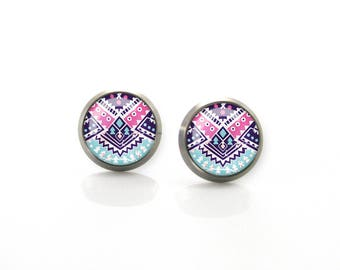 Pure Titanium Jewelry Earrings for sensitive ears Pink Blue Aztec Tribal pattern Hypoallergenic Stud | Titanium Jewelry Stud earrings