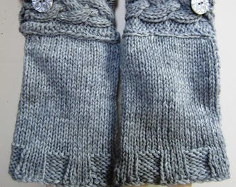 Victorian Oversleeves Sleeve Protectors Unisex Hand Knit Wool Civil War Reenactor Grey Cabled Arm Warmers - Size Medium