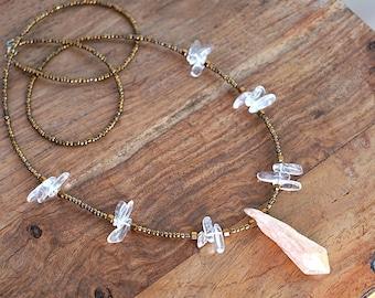 Blush Pink Aura Quartz Point Necklace Raw Aura Crystal Necklace Clear Quartz Crystal Point Clear Quartz Point Long Crystal Boho Necklace