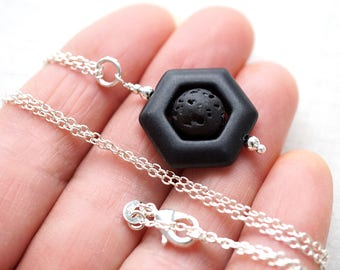Essential Oil Diffuser Necklace Lava Necklace Hexagon Geometric Necklace Black Stone Jewelry Aromatherapy Necklace Aroma Minimal Modern Gift