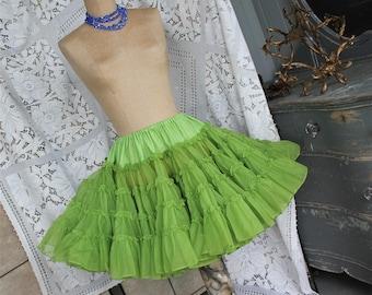 Vintage Green Crinoline Skirt Petticoat Slip