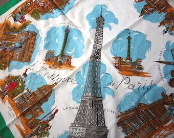 Vintage Designer History of Paris Souvenir Scarf | J. Mico Sancho, Made in Paris | Eiffel Tower, Louvre, Notre Dame, Moulin Rouge, Pantheon