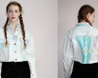 1980s VTG Acidwash Pastel Tribal Cropped Crop Chemical Wash Denim Jean Jacket - 80s Clothing - WV0315