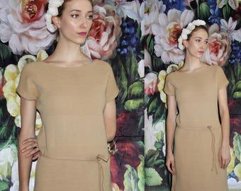 RARE 1950s Vintage Designer Louis Feraud Knit Tan Wiggle Dress - 50s Designer Dresses - 50s Clothing - WV0448