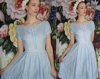 50s Vintage Pastel Blue and White Lace Bombshell Pinup Cotton Fit and Flare Dress -  50s Dresses  - Fifties Clothing - WV0554
