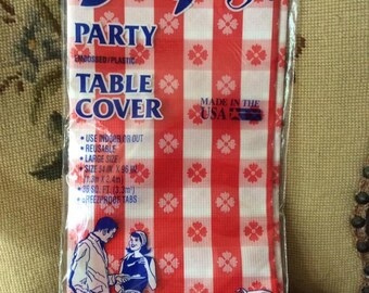 Vintage 1960s 1970s Tablecloth Red White Breez Proof Party Table Cover  Deadstock/Never Used In