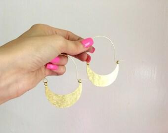 Rustic metal super hoop earrings, hammered half moon hoop earrings