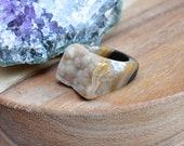 DRUZY RING/// Size 8.5 Brown Neutral Quartz Druzy Stone Ring/ Gemstone Ring/ Unique Natural Stone / Gemstone Carved Bohemian (RCD10-BR-4)