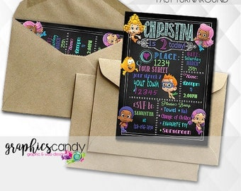 Bubble Guppies - Photo Invite - Printable - DIY - Digital File - Shower - CUSTOMISED