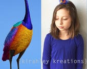 "KEVIN the ""SNIPE"" from UP - Purple Peacock Teal Orange Parrot Feather Bird Inspired Headband Headpiece Fascinator Halloween Costume"