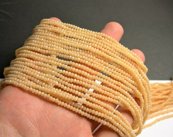 Crystal - rondelle  faceted 3mm x  2mm beads - 197 beads - AA quality - Beige - CAA2G158