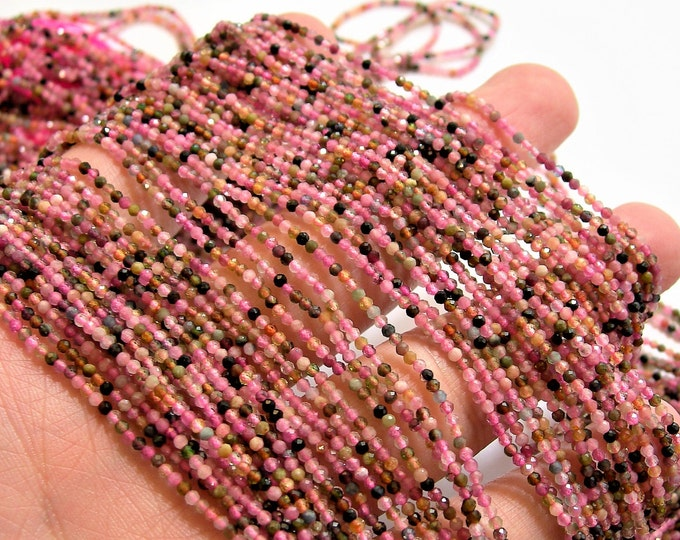 Tourmaline - 2mm(1.85mm) faceted round beads - 1 full strand - 214 beads - multi color tourmaline - micro faceted - PG93