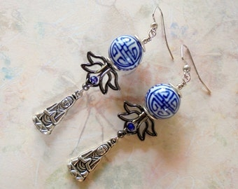 Blue, Black and White Oriental Earrings (3907)