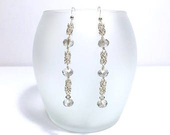 Silver Byzantine Beaded Chain Maille Earrings with Shadow Gray Crystals