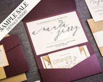 "Modern Wedding Invitations, Purple Wedding Invitation Set, Calligraphy Wedding Invitation, Eggplant and Gold - ""Modern Calligraphy"" PF-NL-v1"