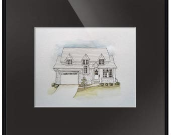 Whimsical Home Portrait - 8 x 10 - matted in black - ready for framing.