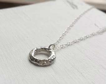 Small Rustic Circle Pedant - Recycled Silver, Organic, Moon Rock, Rock Texture, Little Circle Necklace