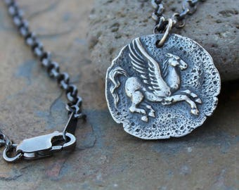 Pegasus Coin Necklace - Ancient Greek style coin charm, sterling silver rolo chain-  Strength, Accomplishment- Mythology- free shipping USA