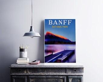 Banff Park Canada 12x18 Poster Art Print Landscape Art Mountain Art for Lake House Nature Art