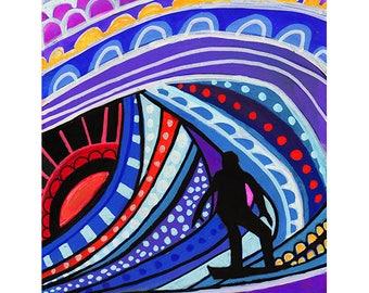 Hawaiian Tube Surfer Art by Heather Galler Original Painting American Folk Art Hawaii Beach Surfing Surfboard Ocean Waves