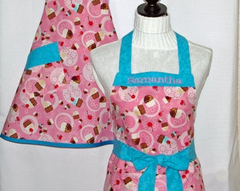 Girls Cupcake Youth Apron, Matching Sisters, Mommy, Tween, Custom Personalize With Name, No Shipping Fee, Ready To Ship TODAY 1072