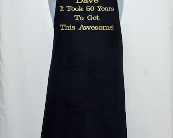 50th Birthday Apron, 60th, 40th, Any Age, Custom Gift For Awesome Person, Personalized With Name, No Shipping Fee, Ships TODAY, AGFT 666