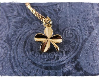 Gold Clover Necklace - Gold Plate Clover Charm on a Delicate 14kt Gold Filled Cable Chain or Charm Only