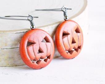 Orange Stone Jack O Lantern Pumpkin Earrings on Gunmetal Hooks