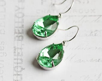 Green Teardrop Earrings, Rhinestone Earrings on Silver Plated Hooks, Mint Green Earrings, Spring Green, Rhinestone Jewelry, Simple Jewelry