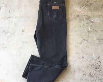 38x30 Wrangler Black Classic Straight Leg Jeans 80s Vintage Colored Denim 937 WBK