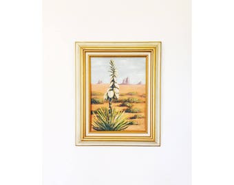 Vintage Agave in Desert Oil Painting