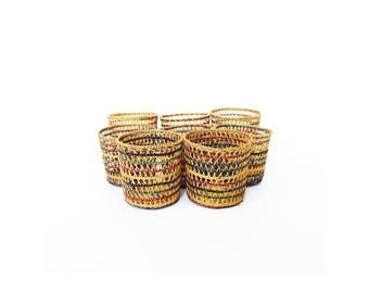 Colorful Wicker Drink Cozies / Set of 8