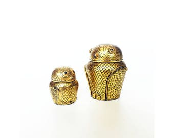 Pair of Vintage Black and Gold Lacquerware Owl Boxes