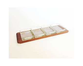 Mid Century Wood and Glass Serving Tray