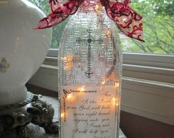 Lighted bottles, lighted wine bottle, christian, wine bottle lamp, wine bottle lamps, wine bottle light, wine bottle lights, lighted bottles