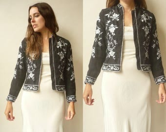 1990's Vintage Chinese Floral Embroidered Satin Cropped Blazer Jacket Size XS
