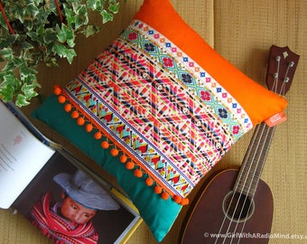 """Aztec Orange Turquoise Pillow - Boho Ethnic Colourful Mexican Cushion Cover 16x16 or 18x18 or 20x20"""""""