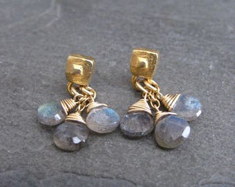Labradorite earrings, small dangle, color flash, faceted labradorite, briolette cluster, tiered earrings, square studs, genuine labradorite