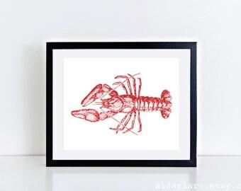 Lobster Art Print / Vintage Lobster Wall Art / Vintage Nautical Home Decor  / Lobster Kitchen