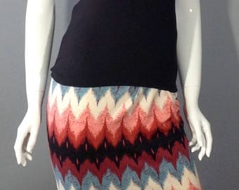 Black, cream, blue and peach Chevron stripe pencil skirt