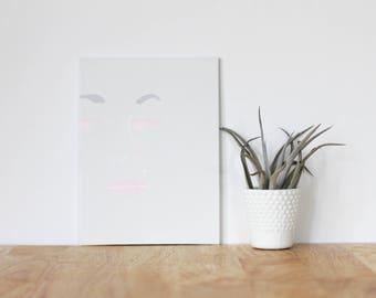 "gray wall art acrylic painting, ""michelle luke"" - are you my bestie, flat 6x8 canvas, gift for friend, best friends, portrait, art"
