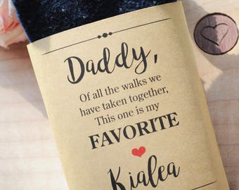 Wedding Sock Label for Dad, Father of the Bride Gift, Wedding Gift for Dad, Gift from Bride, Daddy Wedding Sock Wrap, **PRINTED & SHIPPED**