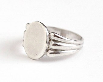 Sale - Vintage Retro Sterling Silver Blank Signet Ring - 1940s Size 6 3/4 Signed Clark & Coombs C and C Personalize Initial Jewelry